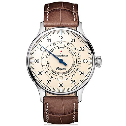 Meistersinger Single Hand Pangaea Day Date Unisex 40mm Bracelet Cuir Marron Automatique Montre PDD903