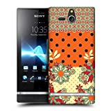Head Case Orange Yellow Floral Dots Hard Back Case Cover For Sony Xperia U St25i