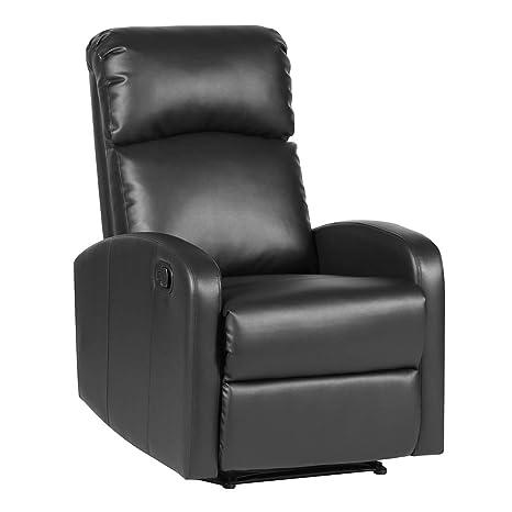 Relaxsessel Fernsehsessel Ruhesessel mit verstellbarer Beinablage und Liege-Funktion – Kunstleder Farbwahl (Schwarz)