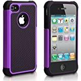iPhone 4S Case,ULAK 2in1 Hybrid Matte Silicone Hard Protective Case Cover for Apple iPhone 4 4s with Screen Protector (Purple)