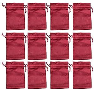 12 Rote Säckchen (fein) aus Jute, 15 x 10 cm