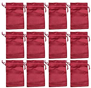 12 Jute-Säckchen fein, rot, 15 x 10 cm