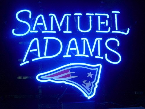 "New England Patriots Samuel Adams Neon Light Sign Home Beer Bar Pub Recreation Room Game Room Windows Garage Wall Sign 17w""x 14""h"