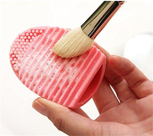 Meily 化粧ブラシクリーナー シリコン洗濯板 メイクツール 清掃道具 パープル