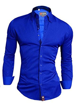 D r fashion men 39 s shirt stripes cottonlim fit purple royal for Royal purple mens dress shirts