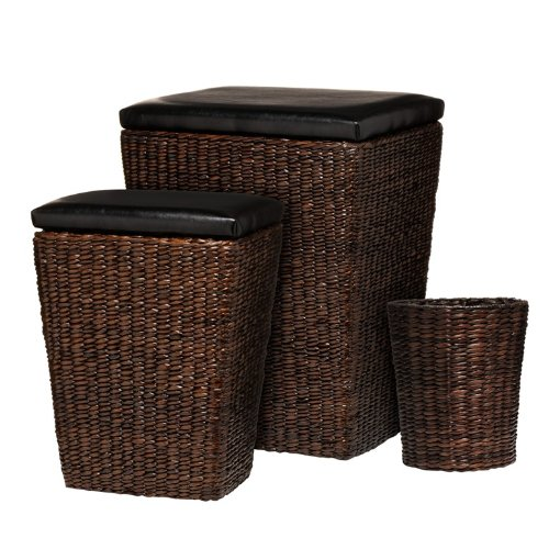 3 BROWN CATTAIL LEAF STORAGE SEAT TABLE CHEST LAUNDRY
