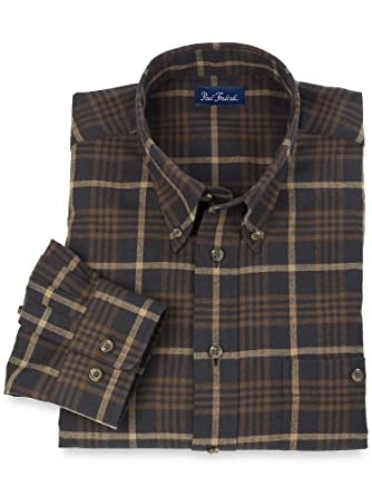 Paul Fredrick Men's Cotton \ Wool Flannel Buttondown Collar Plaid Sport Shirt Black/brown 4xl Tall