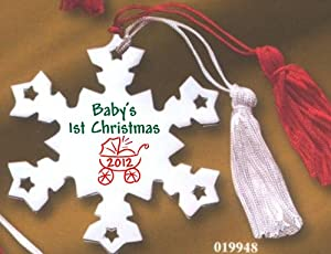 Baby's 1st Christmas Metal Red & Green Snowflake Ornament