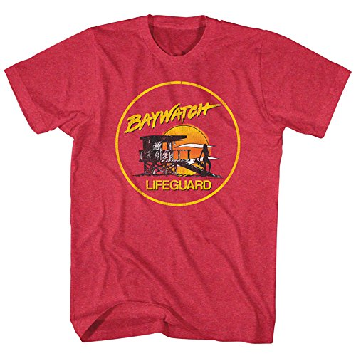 Baywatch Sunset Lifeguard Men's T-Shirt - Cherry