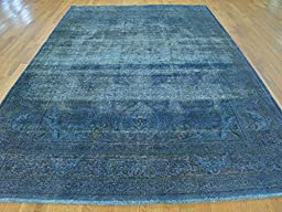 7 x 11 HAND KNOTTED WORN OVERDYED SKY BLUE PERSIAN TABREZ ORIENTAL RUG G23548