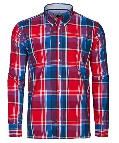 TOMMY HILFIGER CUSTOM FIT Camicia Uomo maniche Lunghe colore RED (M, MONTANA RED)