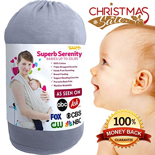 Holiday-Sale-Baby-Carrier-Wrap-For-Newborn-UpTo-35-Lbs-Natural-Cotton-For-Elastic-Breathable-Sling-Soft-Safe-And-Comfortable-the-Perfect-Baby-Shower-Gift