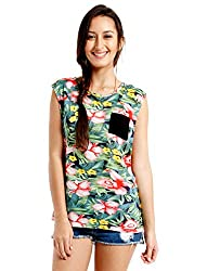 NUN Women's Tropical Print T-Shirt (8903348909412_NUNTU5076_Multi_L)