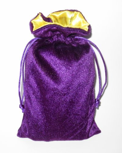 Rune/tarot Bag: Purple Velvet and Marigold Satin Bag