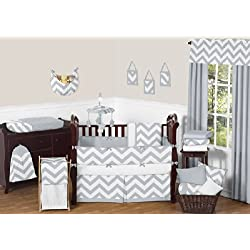 Sweet Jojo Designs Gray and White Chevron ZigZag Gender Neutral Baby Bedding 9 Piece Boy or Girl Crib Set