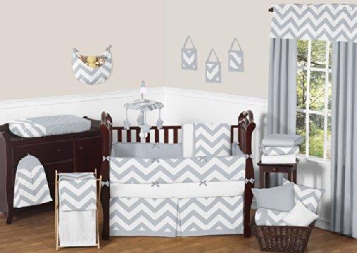 Sweet Jojo Designs Gray and White Chevron Baby Bedding