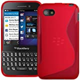 Red S Curve XYLO-GEL Skin / Case / Back Cover for the BlackBerry Q5 Mobile Phone.
