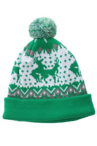 Green and White Humping Reindeer Pom Beanie by Tipsy Elves - One Size