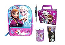 Disney Frozen Girl\'s Backpack with Pencil Pocket Gift Set