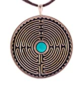 Labyrinth Peace Bronze Pendant Necklace with 6mm TibetanTurquoise Gemstone on Adjustable Natural Cord