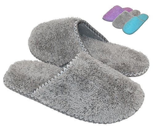 HomeTop Women's Cozy Plush Fleece Slip On Memory Foam House Slippers (Medium / 7-8 B(M) US, Gray) (Woman House Slippers compare prices)