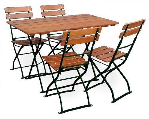 EuroLiving - Set di mobili da giardino con 1 tavolo 120 x 70 cm e 4 sedie, edizione Classic, colore: ocra/verde