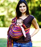MAYA WRAP Lightly Padded Baby Ring Sling Carrier (MEDIUM - BRIGHT STRIPE) Kids, Infant, Child, Baby Products