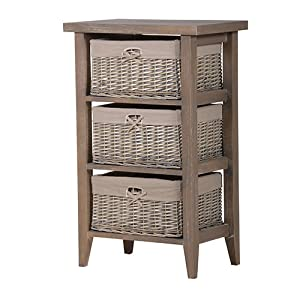 Tall Grey Wood 3 Drawer Wicker Basket Bathroom Bedroom