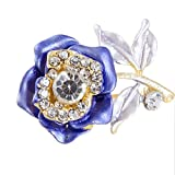 Rhinestone Detailings Royal Blue Flower Safety Pin Brooch Fashion Jewelry thumbnail