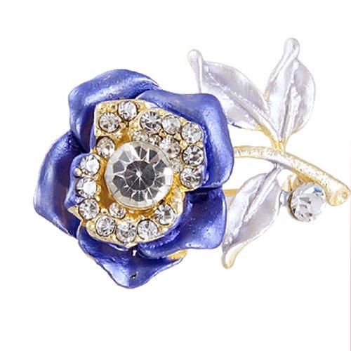 Rhinestone Detailings Royal Blue Flower Safety Pin Brooch Fashion Jewelry image