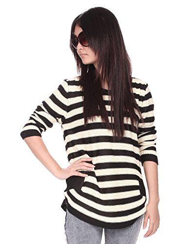 Simplicity Classic Long Sleeve Pullover Sweater, Knit Striped Pattern, Black