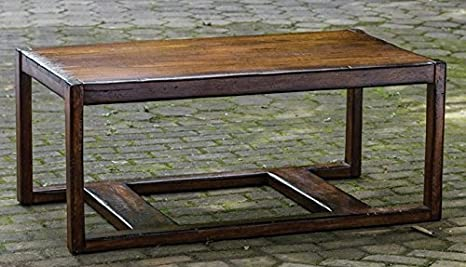 "48"" Distressed Honey Stained Mahogany Frame Decorative Wooden Coffee Table"