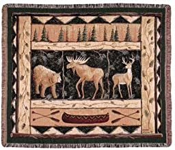Woodland Animals Deer Elk Bear Tapestry Throw Blanket 50quot x 60quot USA Made