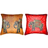 """Belkado Two Elephants Cushion Cover Throw Pillow ( Multi Color, 12""""x12"""" )"""