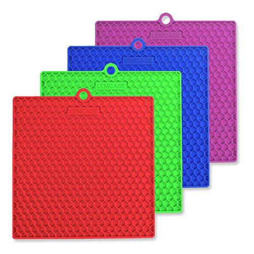 LEMCASE Silicone Pot Holder, Trivet Mat, Cup Spoon Rest, Jar Opener (Set of 4, Square) Multipurpose Heat Resistance Hot Pad - Red, Blue, Green, Purple