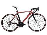 Ferrari(フェラーリ) R7018ALTA(SORA) レッド×ブラック 700c ロードバイク 軽量アルミエアロモノコックフレーム カーボンフォーク シマノ製SORA 18段変速 デュアルコントロールレバー 700×23c マスキング塗り分けデザイン フレームサイズ525mm アナトミックシャロードロップハンドル 前後キャリパーブレーキ 前後クイックレリーズハブ 重量10.5kg 17167-0299