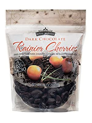 Royal Harvest Dark Chocolate Coated Sweetened Dried Rainier Cherries, 18 Ounce by Oregon Cherry Growers