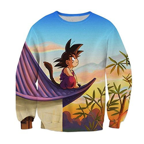 Parakeet Dragon Ball Z Sports Pullover Sweatshirts Crew neck Long Sleeve L