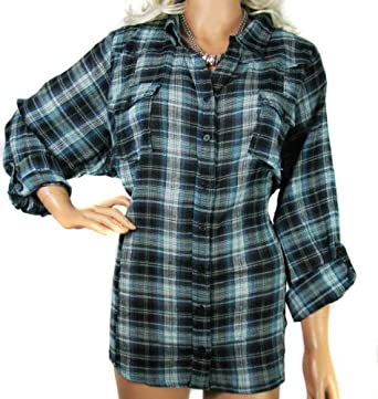 Ladies green black check shirt blouse in women 39 s plus for Womens green checked shirt