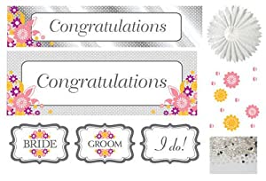 Creative Converting I Do Cake, Decorating Kit with Banners, Confetti, Cutouts and Tissue Fans by Creative Converting