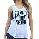Elaco Women Yoga Shirts Sports Vest Fitness Gym Tank Top Loose Vest Blouse Running T-shirt (White, L)