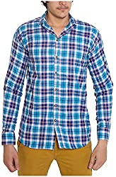 Oshano Men's Casual Shirt (OSH_009_l, Blue, l) Shipping Charges 400
