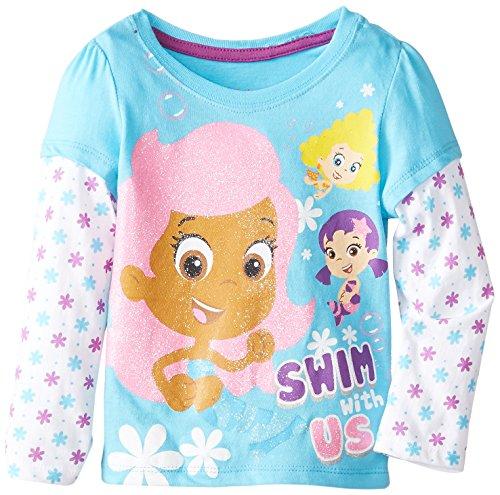 Nickelodeon Little Girls' Bubble Guppies Long Sleeve Tee, Ocean Wind, 3T front-1059704