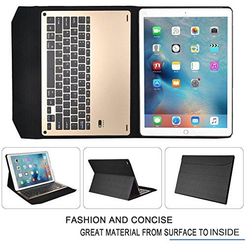 iPad Pro 9.7インチケース,IVSOiPad Pro 9.7インチキーボード iPad Pro 9.7インチ 専用 超薄型Bluetooth接続キーボード 内蔵アルミケース キーボード兼スタンド兼カバー iPad Pro 9.7インチだけ 適用 (ブラック)