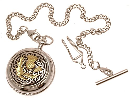 Pocket watch - Solid pewter fronted mechanical skeleton pocket watch - Two Tone celtic knot with thistle design 60