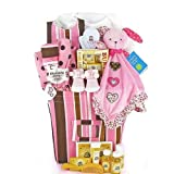 Trendy Pink & Brown New Baby Girl Gift Basket - Great Shower Gift Idea for Newborns