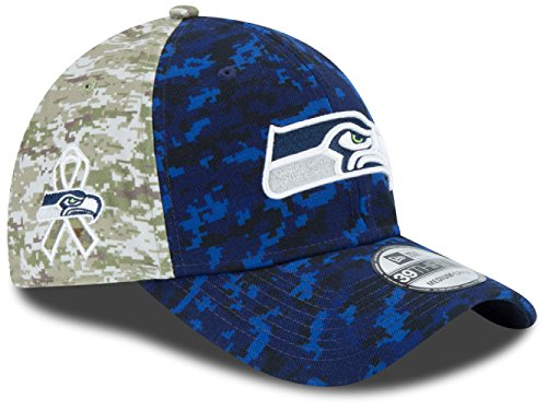 Seattle Seahawks 2015 NFL Salute to Service New Era 39thirty Flex Cap Hat Size L/XL (Seahawks Salute To Service Hat compare prices)