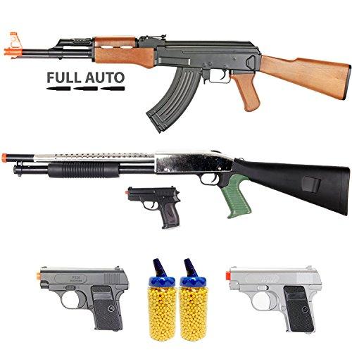 BBTac Airsoft Gun Package - Milita Collection of 5 Guns - Full Auto AK AEG Electric Rifle, Shotgun, Dual Mini Pistols, 4000 BB Pellets, Great Starter Pack Game Play (Ak 47 Airsoft Gun Electric compare prices)