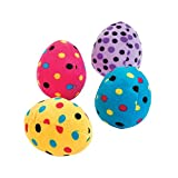 4 Piece Set Soft Plush Easter Basket Decoration Eggs - Pink Yellow Purple and Blue