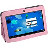 foxnovo ®7 inch leather case for with standard for Allwinner A13 Android 4.0 4GB + stylus pen (Pink)
